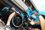 Rizla Suzuki MotoGP team members at work