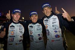 Race winners Adrian Fernandez, Harold Primat, Stefan Mücke celebrate
