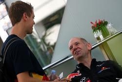 Adrian Newey, Red Bull Racing, Technical Operations Director and Sebastian Vettel, Red Bull Racing