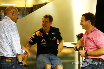 Christian Horner, Red Bull Racing, Sporting Director, Adrian Newey, Red Bull Racing, Technical Operations Director and Sebastian Vettel, Red Bull Racing