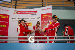 458 podium: class and overall winner #777 Ferrari of Québec Ferrari 458 Challenge: Emmanuel Anassis, second place #22 Ferrari of Ft. Lauderdale Ferrari 458 Challenge: Enzo Potolicchio, third place #27 Ferrari of Houston Ferrari 458 Challenge: Mark McKenzi