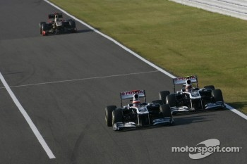 Rubens Barrichello, Williams F1 Team and Pastor Maldonado, Williams F1 Team