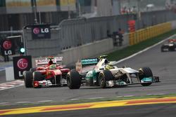Nico Rosberg, Mercedes GP Petronas F1 Team leads Felipe Massa, Scuderia Ferrari