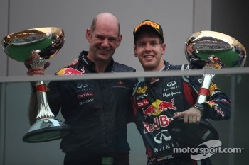 Podium: Adrian Newey, Red Bull Racing, Technical Operations Director with Sebastian Vettel, Red Bull Racing