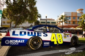 NASCAR Championship Drive in South Beach: car of Jimmie Johnson, Hendrick Motorsports Chevrolet on display