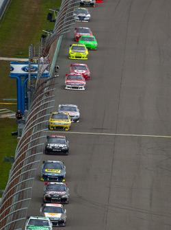 Kyle Busch, Joe Gibbs Racing Toyota leads a group of cars