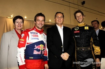 Eric Besson, French Industry Minister, with Romain Grosjean and Sébastien Loeb