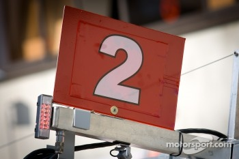 Pit board for #2 Audi Sport Team Joest Audi R18 TDI
