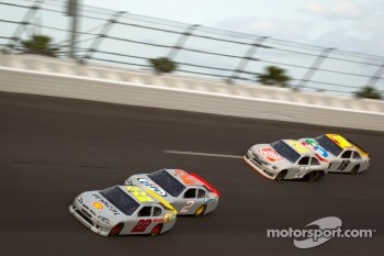 A.J. Allmendinger, Penske Racing Dodge, Brad Keselowski, Penske Racing Dodge, Joey Logano, Joe Gibbs Racing Toyota, Kyle Busch, Joe Gibbs Racing Toyota