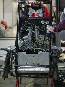 Engine work in the garage area