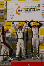 Podium: race winners Khaled Al Qubaisi, Sean Edwards, Jeroen Bleekemolen, Thomas Jger