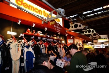 Plenty of racing accessories and memrobilia for sale