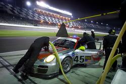 Pit stop for #45 Flying Lizard Motorsports with Wright Motorsports Porsche GT3: Jorg Bergmeister, Patrick Long, Seth Neiman, Mike Rockenfeller