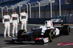 Kamui Kobayashi, Sauber F1 Team with Sergio Perez, Sauber F1 Team and Esteban Gutierrez, Sauber F1 Team