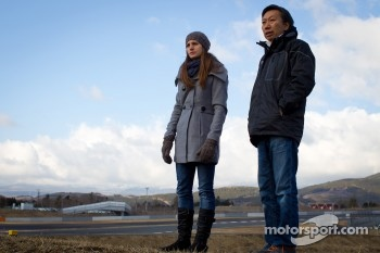 Cyndie Allemann tests the Hitotsuyama Racing Audi R8 LMS Super GT car, with Michael Kim
