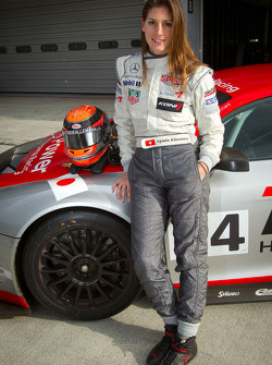 SUPERGT: Cyndie Allemann poses with the Hitotsuyama Racing Audi R8 LMS Super GT car