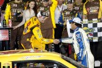 Victory lane: race winner Kyle Busch, Joe Gibbs Racing Toyota celebrates with Michael Waltrip, Michael Waltrip Racing Toyota