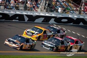 Denny Hamlin, Joe Gibbs Racing Toyota leads the field