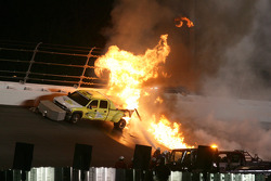 A jet dryer truck is on fire after a crash with Juan Pablo Montoya, Earnhardt Ganassi Racing Chevrolet
