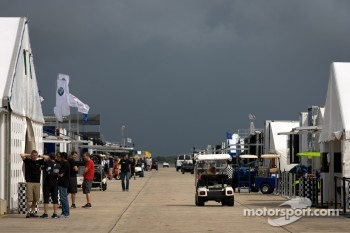 A menacing sky over the Sebring paddock