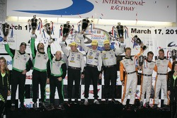 ALMS P2 podium: first place Scott Tucker, Christophe Bouchut, Joao Barbosa, second place Tim Pappas, Bret Curtis, Jon Fogarty, third place Martin Plowman, David Heinemeier Hansson, Francesco Dracone