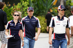 Pastor Maldonado, Williams with team mate Bruno Senna, Williams