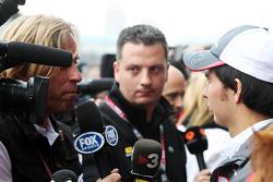 Sergio Perez, Sauber F1 Team with the media