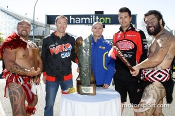 Greg Murphy, Lee Holdsworth and Fabian Coulthard with Maori warriors and the Mark Porter Trophy
