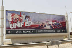 Unif1ed road advertising hoardings on the way to the circuit