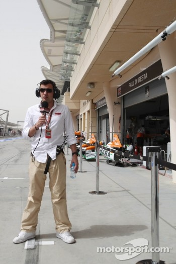 Will Buxton, Speed TV Presenter outside the Sahara Force India F1 Team garages in the second practice session, when they didn't run