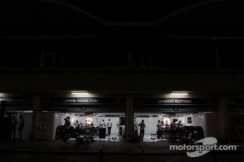 McLaren pit garages at night