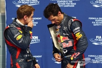 Pole sitter Sebastian Vettel, Red Bull Racing with Mark Webber, Red Bull Racing in parc ferme