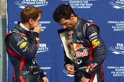 Pole sitter Sebastian Vettel, Red Bull Racing with Mark Webber, Red Bull Racing in parc ferme