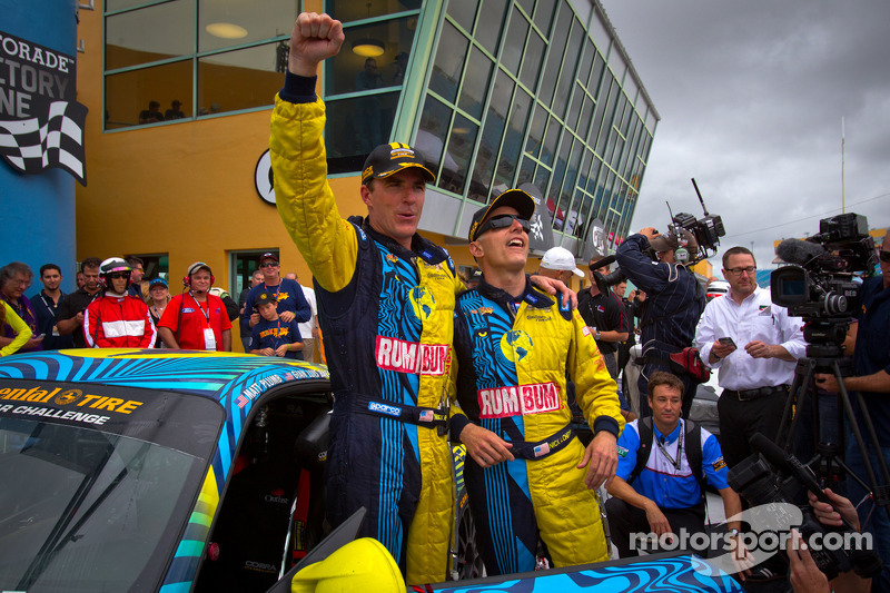 Victory lane: race winners Matt Plumb and Nick Longhi celebrate