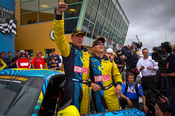 Victory lane: race winners Matt Plumb and Nick Longhi celebrate