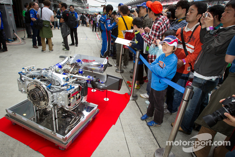 #61 R&D Sport Subaru BRZ GT300 engine displayed during pitwalk