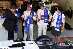 Ron Gouray, Chelsea Football Club CEO; Kamui Kobayashi, Sauber F1 Team; Sergio Perez, Sauber F1 Team; Monisha Kaltenborn, Sauber F1 Team Managing Director