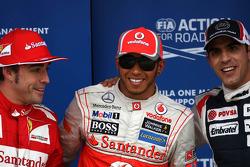 Fernando Alonso, Scuderia Ferrari, Lewis Hamilton, McLaren Mercedes and Pastor Maldonado, Williams F1 Team