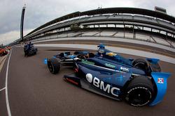 Car of Rubens Barrichello, KV Racing Technology Chevrolet taken back to the garage