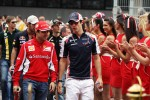 Felipe Massa, Scuderia Ferrari with Bruno Senna, Williams on the drivers parade