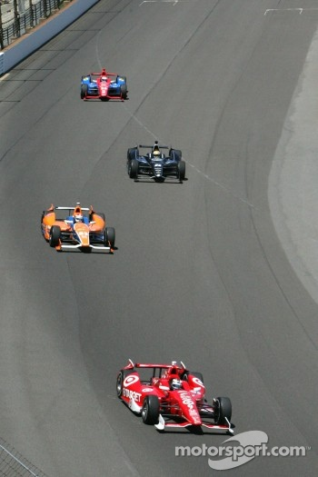 Dario Franchitti, Target Chip Ganassi Racing Honda, Charlie Kimball, Novo Nordisk Chip Ganassi Racing Honda, Oriol Servia, Panther/Dreyer & Reinbold Racing Chevrolet and Graham Rahal, Service Central Chip Ganassi Racing Honda
