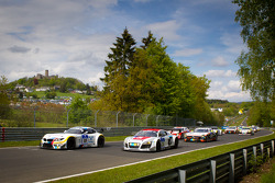 Formation lap: #19 BMW Team Schubert BMW Z4 GT3: Jörg Müller, Dirk Müller, Uwe Alzen, Dirk Adorf and #26 Mamerow Racing Audi R8 LMS Ultra: Chris Mamerow, Christian Abt, Michael Ammermüller, Armin Hahne lead the field to the start