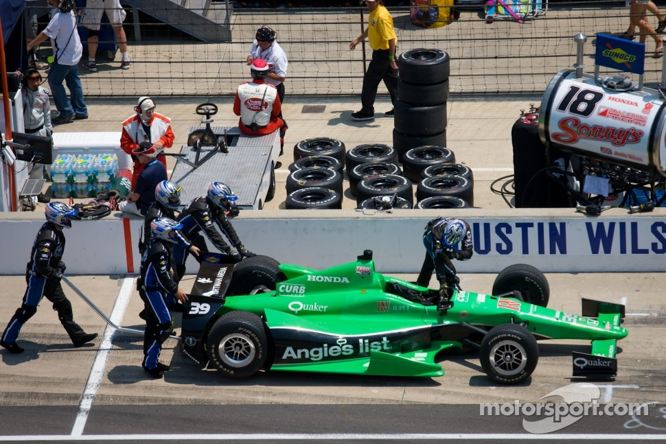 Car of Bryan Clauson, Sarah Fisher Hartman Racing Honda pushed on pit road