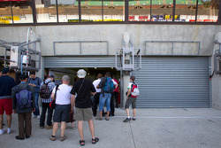Fans in front of the Pescarolo Team garage