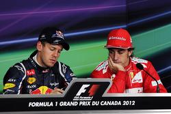 pole sitter Sebastian Vettel, Red Bull Racing and Fernando Alonso, Scuderia Ferrari in the FIA Press Conference