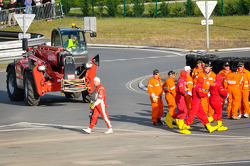 Aftermath of the crash between #81 AF Corse Ferrari 458 Italia and #8 Toyota Racing Toyota TS 030 - Hybrid: Piergiuseppe Perazzini