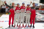 Race winners Marcel Fssler, Andre Lotterer and Benoit Trluyer celebrate with Dr. Wolfgang Ullrich and Ralf Jttner