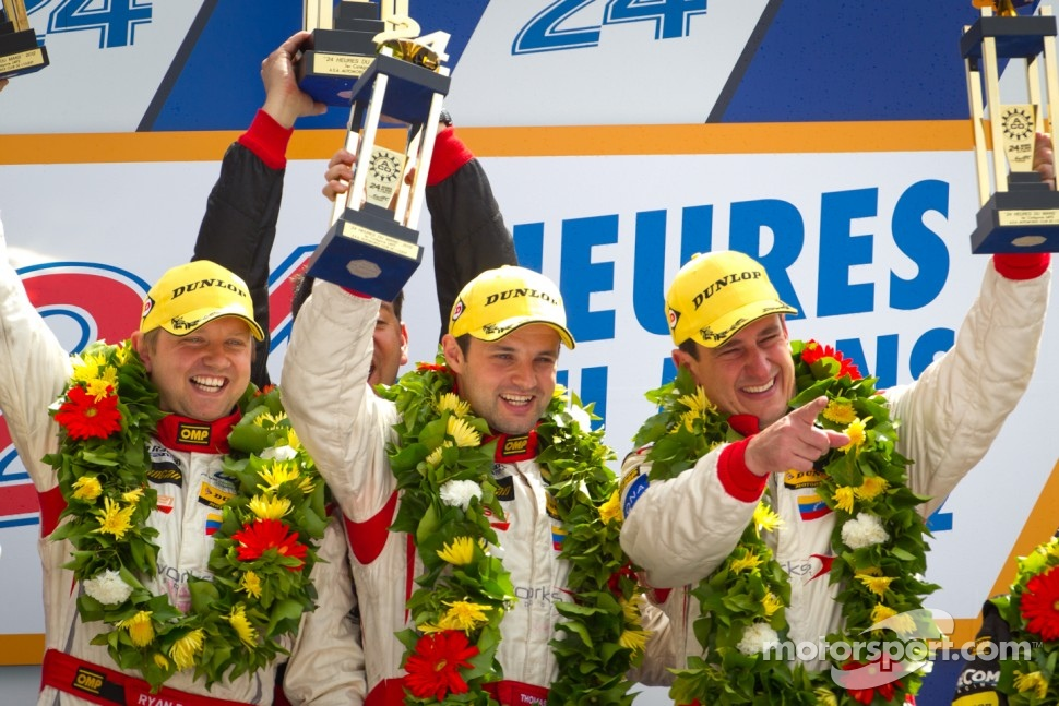 LMP2 podium: class winners Enzo Potolicchio, Ryan Dalziel, Tom Kimber-Smith
