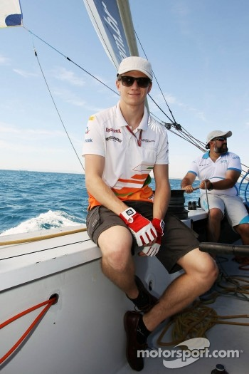 Nico Hulkenberg, Sahara Force India F1 on the Aethra America's Cup Boat