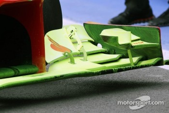 flow-vis paint on the Ferrari front wing